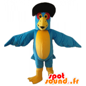 Mascot blue and yellow parrot with black hat - MASFR22696 - Mascots of parrots