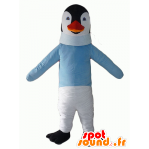 Black and white penguin mascot with a blue sweater - MASFR22700 - Penguin mascots