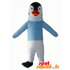 Blanco y negro mascota pingüino con un suéter azul - MASFR22700 - Mascotas de pingüino