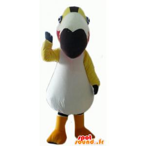 Maskot barevný pták, tukan, papoušek