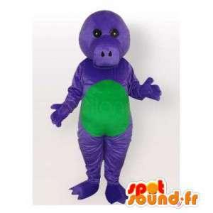紫と緑の恐竜のマスコット。恐竜のコスチューム