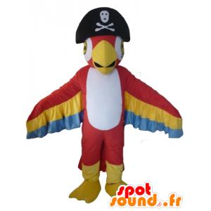 Mascotte de perroquet tricolore, avec un chapeau de pirate