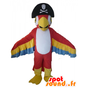 Tricolor parrot mascot, with a pirate hat - MASFR22709 - Mascots of parrots