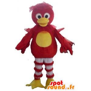 Mascotte d'oiseau rouge, jaune et blanc, de canard - MASFR22719 - Mascotte de canards