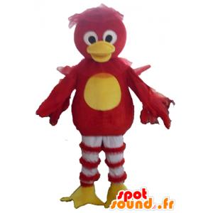 Mascotte uccello rosso, giallo e bianco, anatra - MASFR22719 - Mascotte di anatre