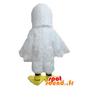 Mascotte de mouette, de goéland blanc et jaune - MASFR22724 - Mascottes de l'océan