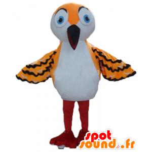 Mascot oranssi lintu, valkoinen ja musta, pitkä nokka - MASFR22728 - maskotti lintuja