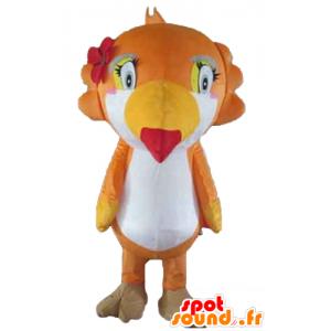Mascota loro, tucán, naranja, blanco y amarillo