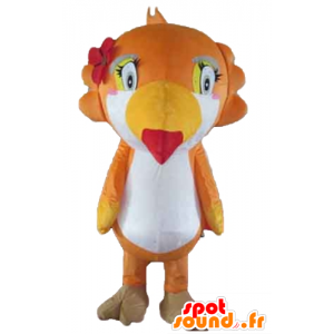 Parrot mascot, toucan, orange, white and yellow - MASFR22729 - Mascots of parrots