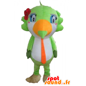 Parrot mascot, toucan, green, white and orange - MASFR22730 - Mascots of parrots