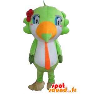 Parrot maskot, tukan, zelená, bílá a oranžová