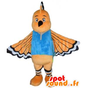 Mascot pomarańczowy ptak, biały i czarny, z długim dziobem - MASFR22735 - ptaki Mascot