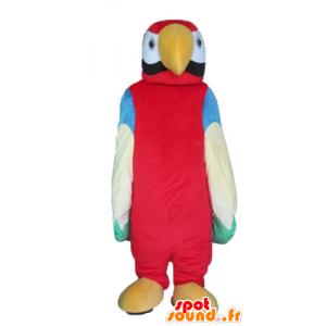 Mascotte de perroquet multicolore géant
