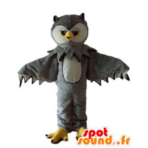 Mascot ugle grå, hvit og gul, veldig realistisk - MASFR22739 - Mascot fugler