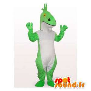Green dinosaur mascot and white