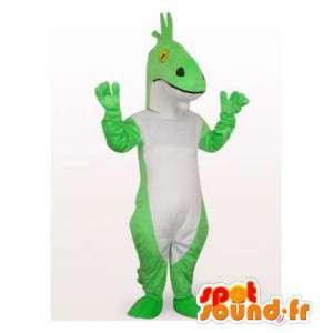 Mascote dinossauro verde e branco