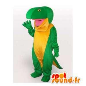 マスコットの緑と黄色の恐竜。イグアナコスチューム
