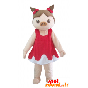 Maskotka świnia różowy brązowy i czerwony i biały strój