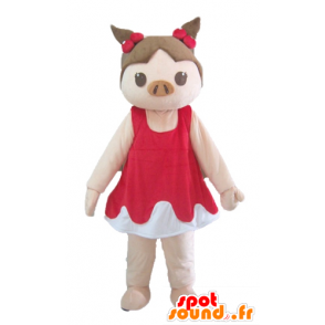 Pink pig mascot and maroon red and white dress