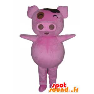 Μασκότ ροζ χοίρου, παχουλό και αστεία