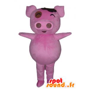 Mascot vaaleanpunainen sika, pullea ja hauska
