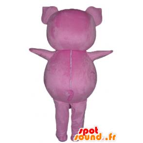 Maskot růžové prase, baculatá a zábavný