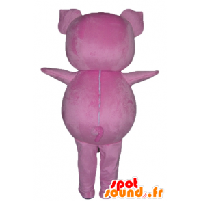 Pink pig mascot, plump and funny