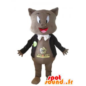 Grå gris maskot, i sort jakke og et slips - Spotsound maskot