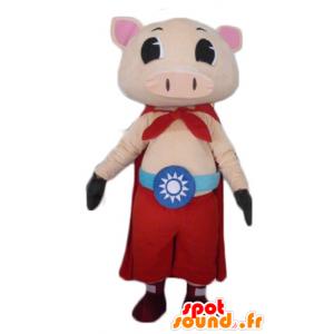 Rosa Schwein-Maskottchen mit Hose und Umhang