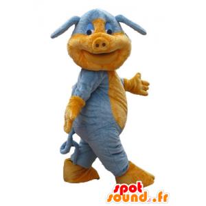 Blue pig mascot and orange,...