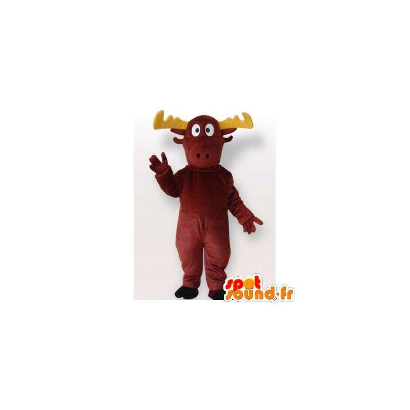 Brune og gule villrein maskot. Caribou Costume - MASFR006525 - Forest Animals