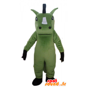 Grønn hest maskot, hvit og svart giganten