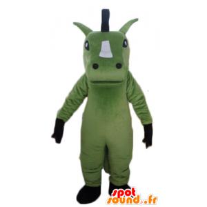 Mascote do cavalo verde, branco e preto gigante