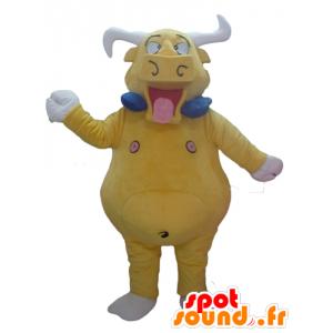 Mascotte de taureau, de buffle jaune, géant et drôle