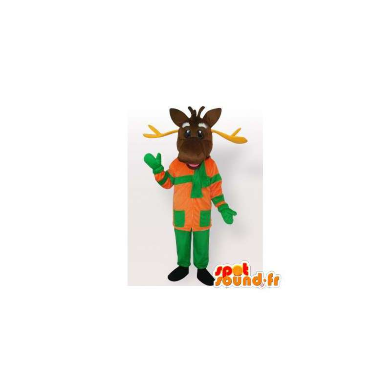 Mascot caribou, reindeer dressed. Reindeer costume - MASFR006526 - Animals of the forest