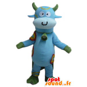 Blue and green mascot cow...