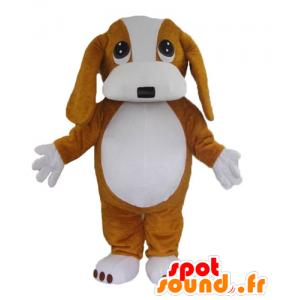 Brown and white dog mascot,...