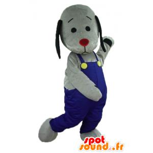 Mascot grauen und schwarzen Hund mit blauen Overalls - MASFR22808 - Hund-Maskottchen