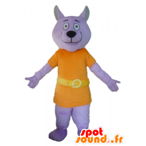 Purple wolf mascot dressed in an orange suit - MASFR22810 - Mascots Wolf