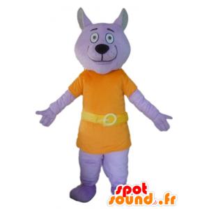 Viola mascotte lupo vestito con una tuta arancione - MASFR22810 - Mascotte lupo