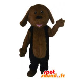 Brun hund maskot, alle hårete, svart kjole - MASFR22811 - Dog Maskoter