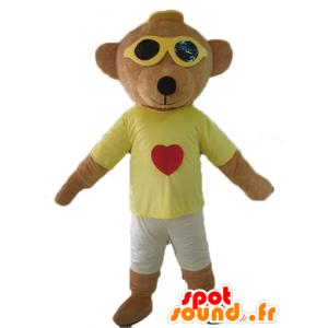 Brun teddy maskot, farget holder med briller - MASFR22812 - bjørn Mascot
