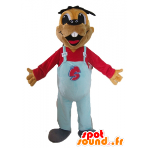 Mascot beaver brown with blue overalls