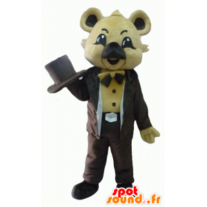 Mascot koala beige, bruin pak, met een hoed