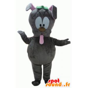Grå kaninmaskot, som sticker ut tungan - Spotsound maskot