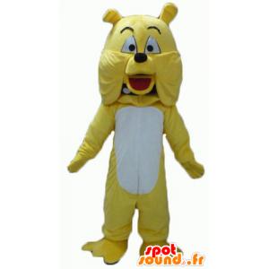Bulldog mascotte, geel en witte hond, reuze - MASFR22816 - Dog Mascottes