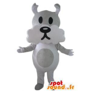 Grauen und weißen Hund Maskottchen, nett und lustig - MASFR22817 - Hund-Maskottchen