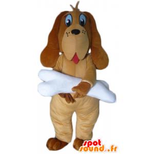 Brown dog mascot with a giant white bone - MASFR22818 - Dog mascots