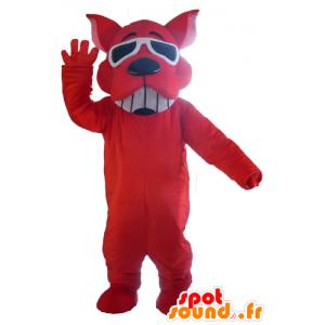 Red Dog Maskottchen, lächelnde, Sonnenbrillen - MASFR22821 - Hund-Maskottchen