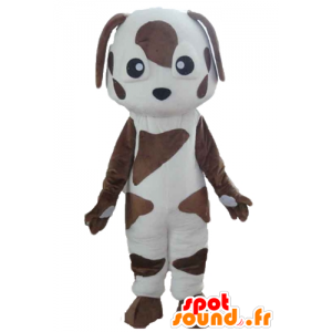 Mascot branco e cão castanho, manchado - MASFR22823 - Mascotes cão